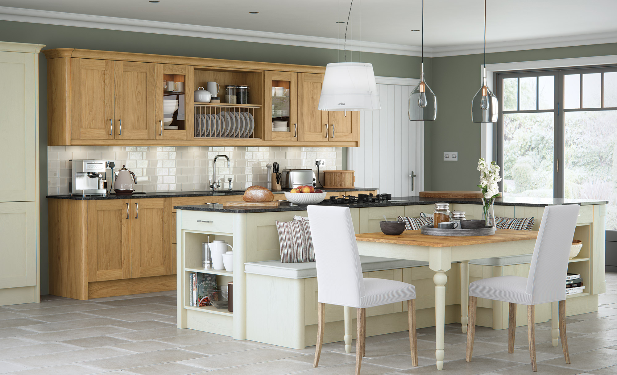 Home Contemporary Modern Clic Madison Oak Painted Ivory Kitchen Hero A