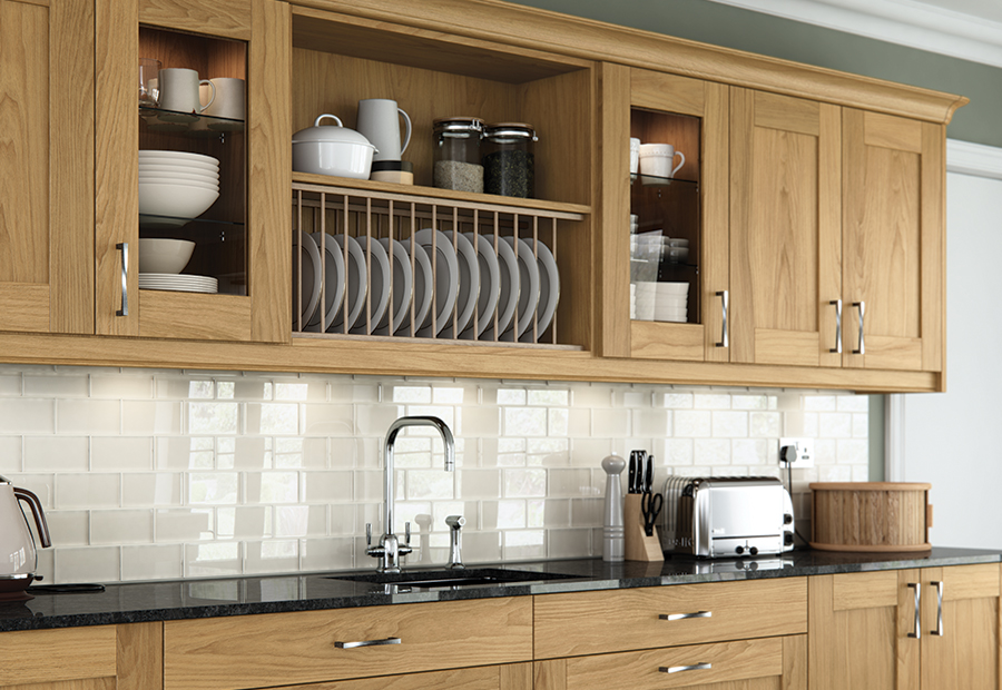 Home; Contemporary Modern Classic Madison Oak Painted Ivory Kitchen Wall  Units Plate Rack A