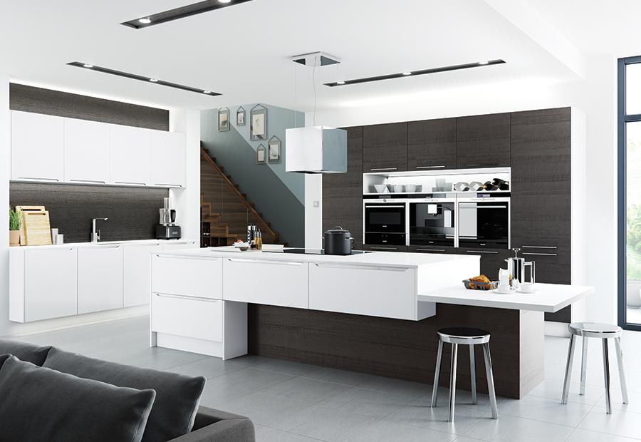 Modern Contemporary Olympia White Black Brown Ferrara Kitchen Hero Wood Style Kitchens Ni