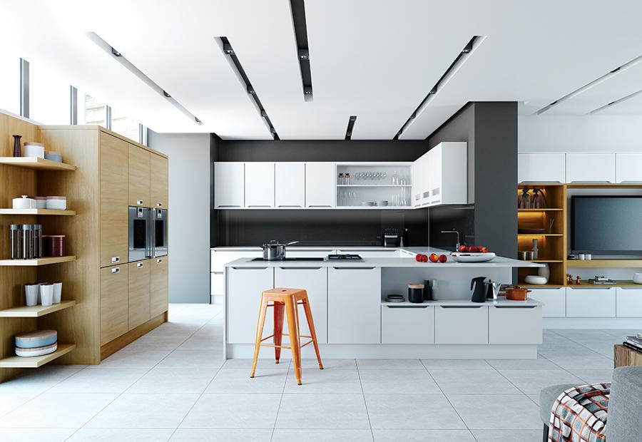 Modern Contemporary Olympia White Tavola Light Oak Kitchen Cabinets Wood Style Kitchens Ni