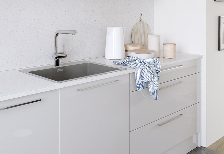 ModerncontemporaryzolaglosslightgreykitchencabinetssinkB - Light grey kitchen cabinets modern