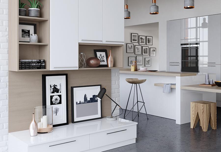 Home Modern Contemporary Zola Gloss White Light Grey Kitchen Wall Cabinets B